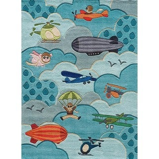 Momeni Lil Mo Whimsy Sky Aviator Hand-Tufted and Hand-Carved Rug (5 x 7 - Sky)