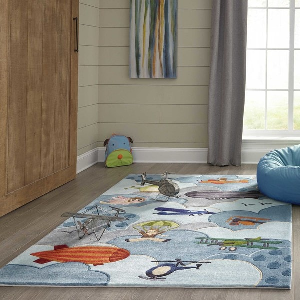 Momeni Lil Mo Whimsy Sky Aviator Hand-Tufted and Hand-Carved Rug (2' X 3')