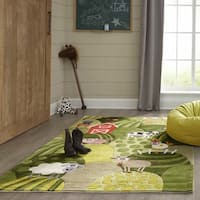 Momeni Lil Mo Whimsy Grass Barnyard Hand-Tufted and Hand-Carved Rug (2' X 3')