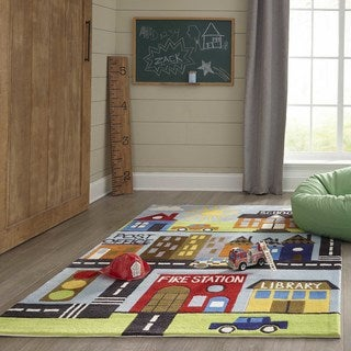 Momeni Lil Mo Whimsy Multicolor Town Hand-Tufted and Hand-Carved Rug (2' X 3')