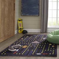 Momeni Lil Mo Whimsy Black Arcade Hand-Tufted and Hand-Carved Rug (2' X 3')