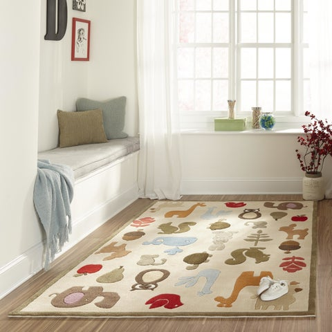 Momeni Lil Mo Whimsy Ivory Critter Hand-Tufted and Hand-Carved Rug (2' X 3')