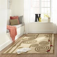 Momeni Lil Mo Whimsy Ivory Ladybug Vine Hand-Tufted and Hand-Carved Rug (2' X 3')