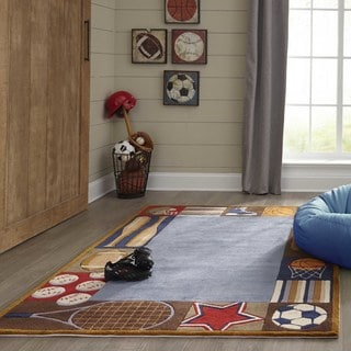 Momeni Lil Mo Whimsy Denim Sports Hand-Tufted and Hand-Carved Rug (2' X 3')