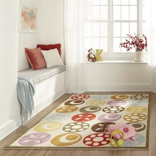Momeni Lil Mo Whimsy Ivory Candy Dots Hand-Tufted and Hand-Carved Rug (2' X 3')