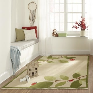 Momeni Lil Mo Whimsy Ivory Modern Birdie Hand-Tufted and Hand-Carved Rug (2' X 3')
