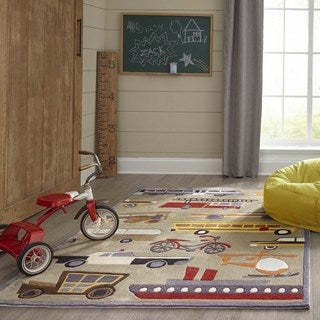Momeni Lil Mo Whimsy Concrete Transportation Hand-Tufted and Hand-Carved Rug (2' x 3')