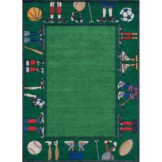 Momeni 'Lil Mo Sports Stars Green Polyester Rug (2' x 3')