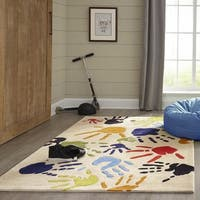 Momeni Lil Mo Whimsy Ivory Fingerpaint Hand-Tufted and Hand-Carved Rug (2' X 3')