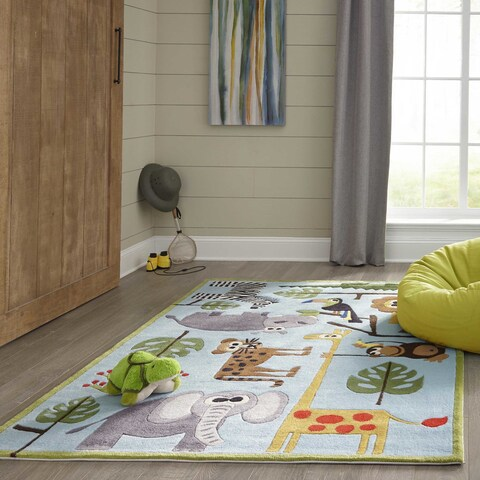 Momeni Lil Mo Whimsy Blue Safari Hand-Tufted and Hand-Carved Rug