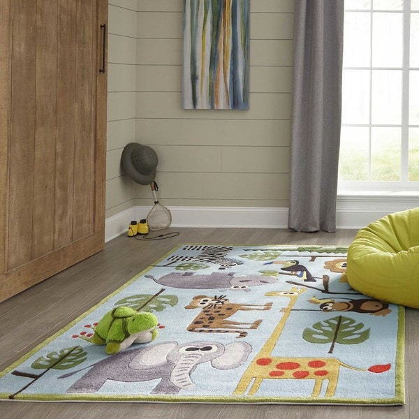 Momeni Lil Mo Whimsy Blue Safari Hand Tufted And Carved Rug 2