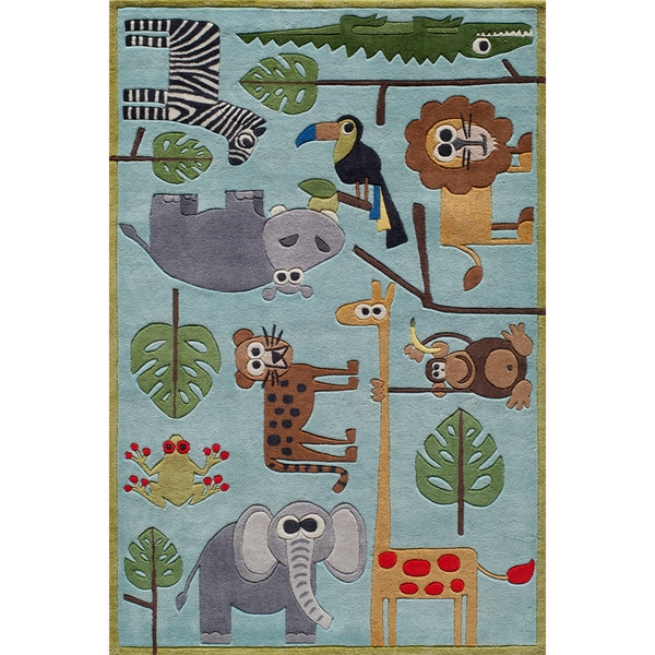 Momeni 'Lil Mo Safari Blue Hand-carved Area Rug