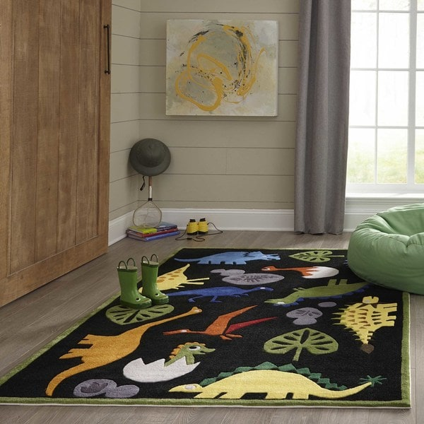 Momeni Lil Mo Whimsy Black Dinosaur Hand Tufted And Carved Rug 2