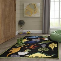 Momeni Lil Mo Whimsy Black Dinosaur Hand-Tufted and Hand-Carved Rug (2' X 3')