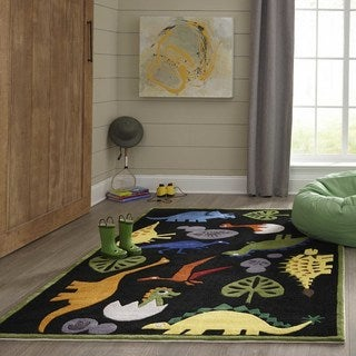 Momeni Lil Mo Whimsy Black Dinosaur Hand-Tufted and Hand-Carved Rug (2' X 3') (2 options available)