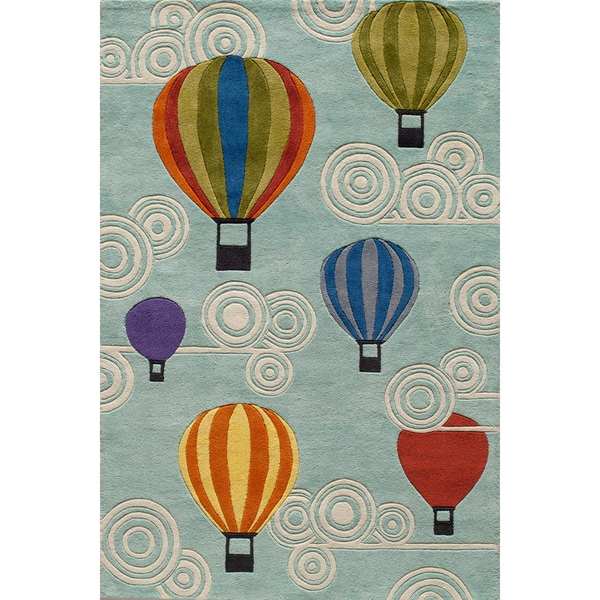 Momeni 'Lil Mo Hot Air Balloon Blue Hand-carved Area Rug