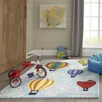 Momeni Lil Mo Whimsy Light Blue Hot Air Balloon Hand-Tufted and Hand-Carved Rug (2' X 3')