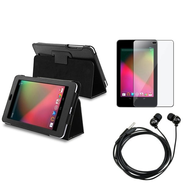 INSTEN Black Phone Case Cover/ Screen Protector/ Headset for Google Nexus 7