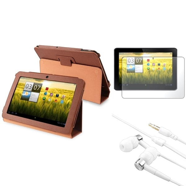 BasAcc Brown Case/ Screen Protector/ Headset for Acer Iconia Tab A200