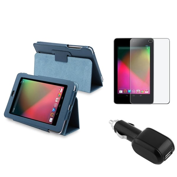 BasAcc Blue Case/ Screen Protector/ Car Charger for Google Nexus 7