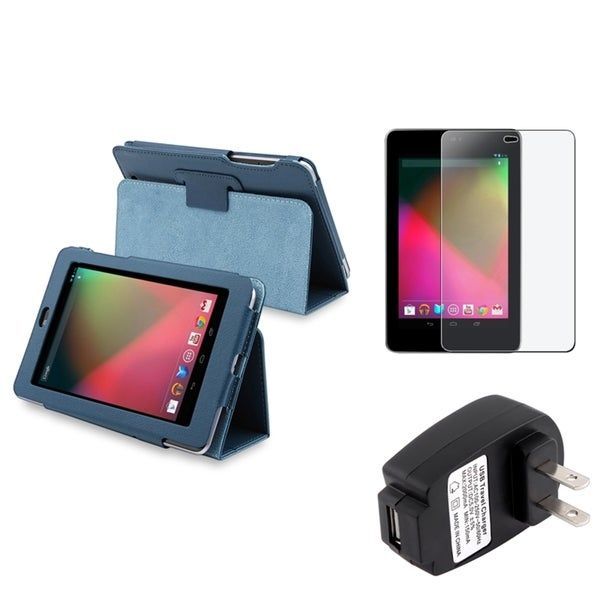 BasAcc Blue Case/ Screen Protector/ Charger for Google Nexus 7