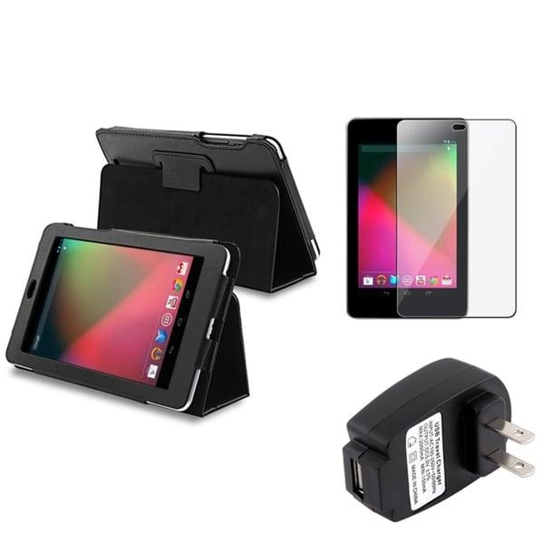 BasAcc Black Case/ Screen Protector/ Charger for Google Nexus 7