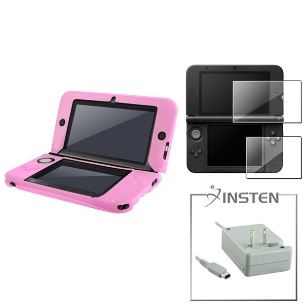INSTEN Pink Case/ Screen Protector/ Travel Charger for Nintendo 3DS XL
