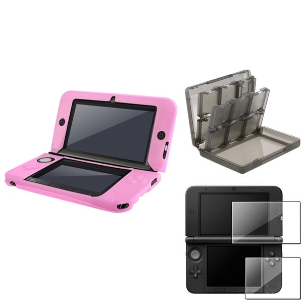 INSTEN Pink Case Cover/ Screen Protector/ Game Card Case Cover for Nintendo 3DS XL