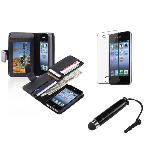 INSTEN Black Phone Case Cover/ Screen Protector/ Stylus for Apple iPhone 4/ 4S