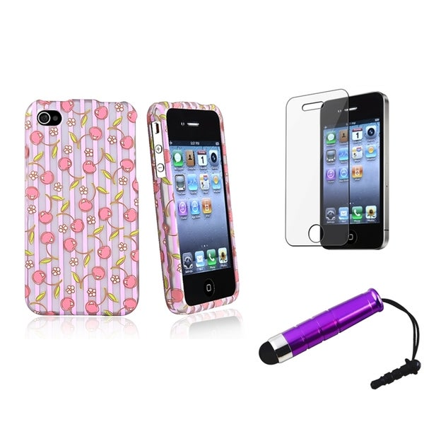 BasAcc Pink Rubber Case/Screen Protector/Stylus for Apple iPhone 4/4S