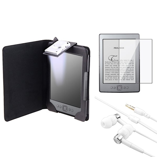 INSTEN Black Phone Case Cover/ Screen Protector/ Headset Bundle for Amazon Kindle 4