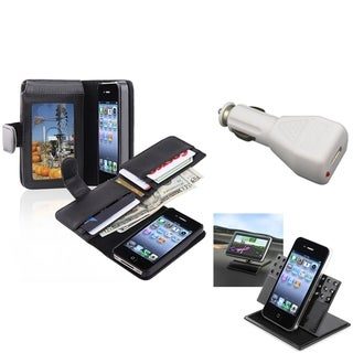 INSTEN Black Phone Case Cover/ White Car Charger/ Holder for Apple iPhone 4/ 4S