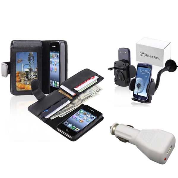 INSTEN Black Phone Case Cover/ White Car Charger/ Mount for Apple iPhone 4/ 4S