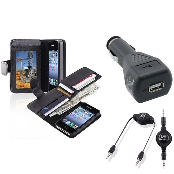 BasAcc Black Case/ Black Car Charger/ Cable for Apple iPhone 4/ 4S