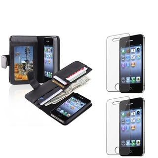 INSTEN Black Phone Case Cover/ Screen Protector for Apple iPhone 4/ 4S