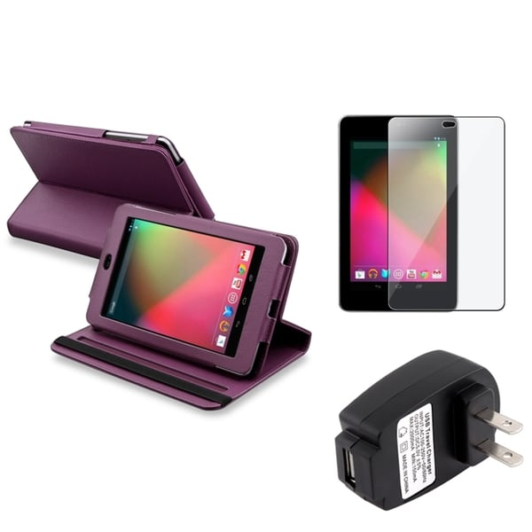 INSTEN Purple Phone Case Cover/ Screen Protector/ Charger for Google Nexus 7