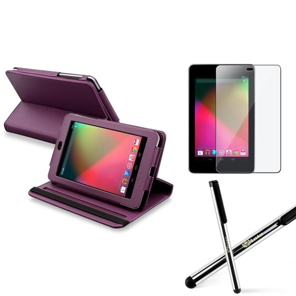 INSTEN Purple Phone Case Cover/ Screen Protector/ Silver for Google Nexus 7