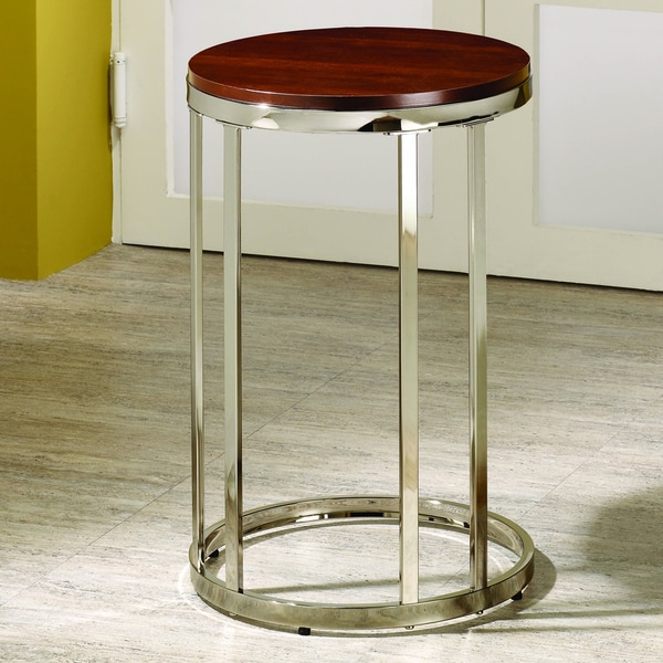 Cherry Nickel Finished Round Chair End Table
