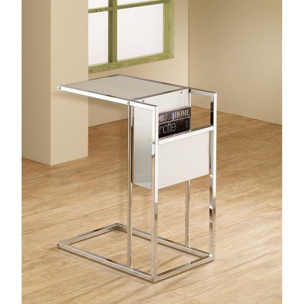 White Chrome Finish Side End Magazine Table