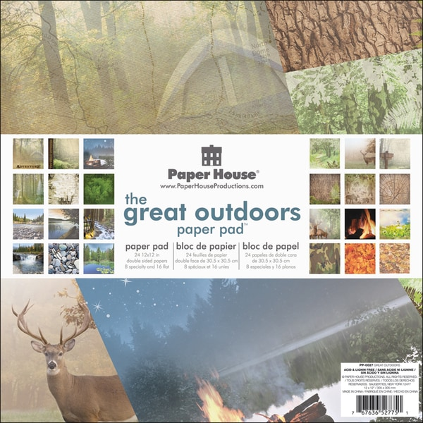 "Paper House Double-Sided Paper Pad 12""X12"" 24 Sheets-Great Outdoors"