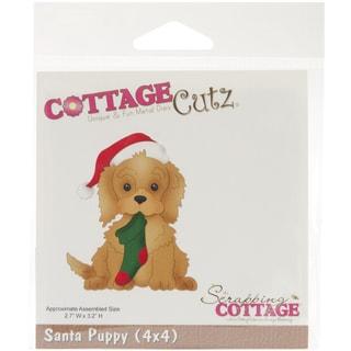 """CottageCutz Die 4""""X4""""-Santa Puppy"""
