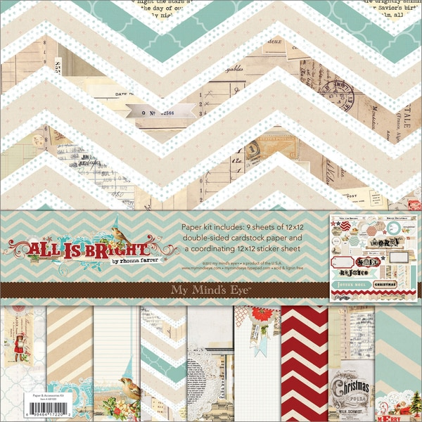 "All Is Bright Paper & Accessories Kit 12""X12""-"