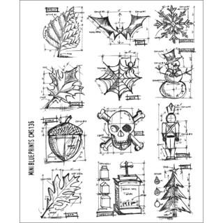 Tim Holtz Large Cling Rubber Stamp Set-Mini Blueprint