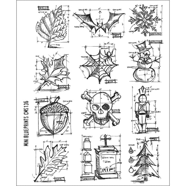 Tim Holtz Large Cling Rubber Stamp Set-Mini Blueprint