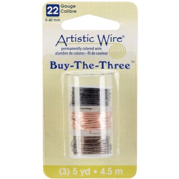 Artistic Wire Buy The Three 3/Pkg-22 Gauge Black/Natural/Gunmetal 5 Yd/Ea
