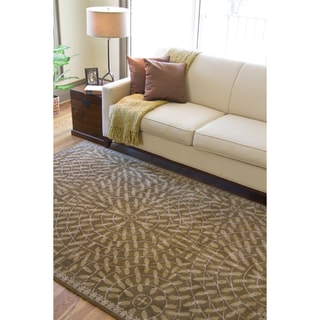 Hand-tufted Circles of Leaves Wool Rug (9' x 13')