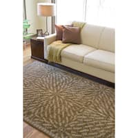 Hand-tufted Circles of Leaves Wool Area Rug - 9' x 13'