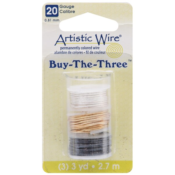 Artistic Wire Buy The Three 3/Pkg-20 Gauge Silver/Brass/Hematite 3 Yd/Ea