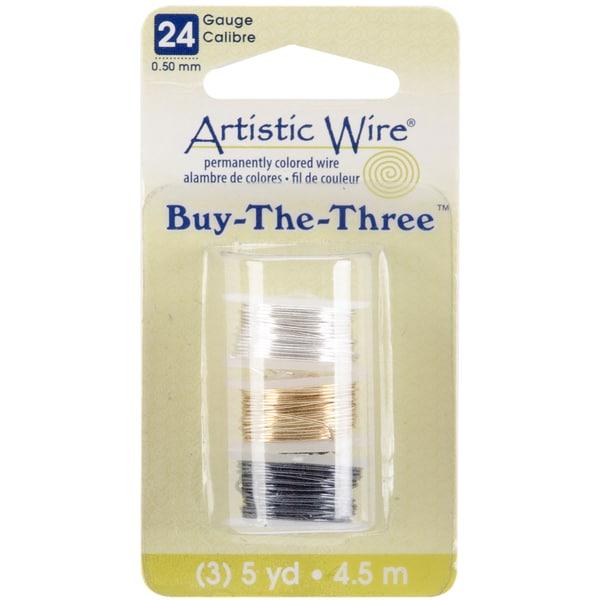Artistic Wire Buy The Three 3/Pkg-24 Gauge Silver/Brass/Hematite 5 Yd/Ea