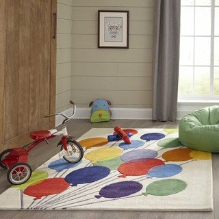 Momeni Lil Mo Whimsy Multicolor Party Balloons Hand-Tufted and Hand-Carved Rug (2' X 3')